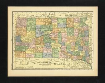 Vintage Map South Dakota From 1926 Original
