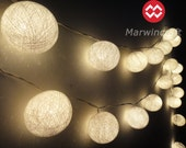 35 White Color Cotton Balls Fairy String Lights Party Patio Wedding Floor Table or Hanging Gift Home Decor Living Bedroom Holiday