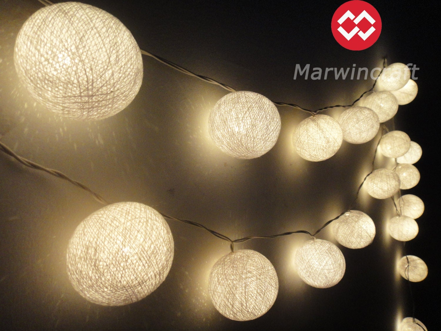 Colored christmas lights in bedroom - 35 White Color Cotton Balls Fairy String Lights By Marwincraft