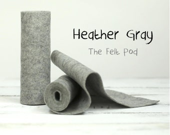 100 Percent Wool Felt Roll in color HEATHER GRAY - Craft Felt - Merino Wool - Gray Felt