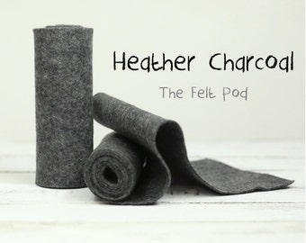 """100% Wool Felt Roll in color HEATHER CHARCOAL - 5"""" X 36"""" Wool Felt Roll  - Heather Felt"""