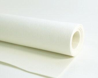 "Thick Wool Felt - 3mm - 9"" x 18"" - 100% Wool Felt - White Wool Felt"