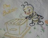 Flour sack Dishtowel - Hand Embroidered - Honey Bee building a hive