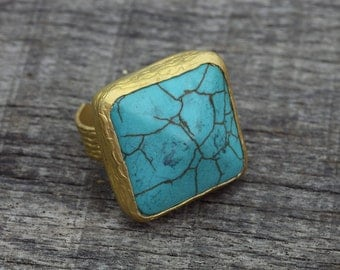 Turquoise Ring, Gold Plated,  Stone Ring, Bohemian Jewelry -Tribal jewelry ,Adjustable Size