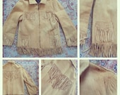 Vintage Fringed Buckskin Jacket Ladies Small
