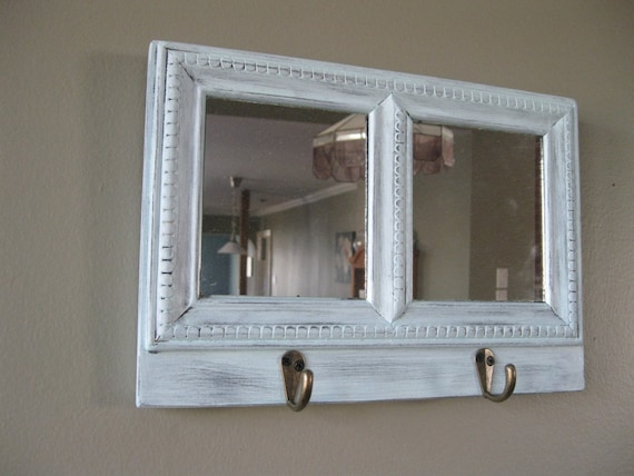 wall mirror with hooks home decor rustic decor. Black Bedroom Furniture Sets. Home Design Ideas