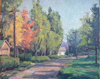 Summer Landscape - Original oil painting by Carl W. Illig, American, green poplars, small town 1950s