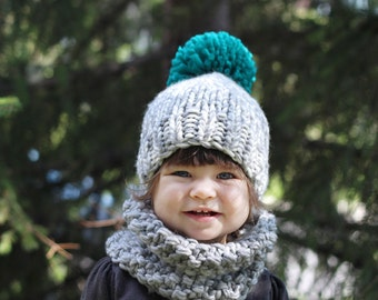 gift set, baby or kid knitted hat and cowl, wool and acrylic yarn CHOOSE YOUR COLORS and style