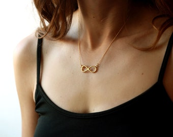 Infinity necklace, gold filled chain, gold filled necklace, gold necklace, 14k