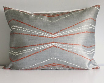 Gray Orange Pillow Covers, Chevron pillows 12x18 Throw Pillow Covers