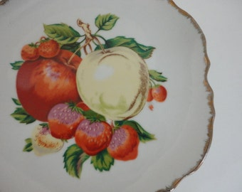 Vintage Hand painted plate Fruit design Decorative Collectible Gold edge 1940s by metrocottage