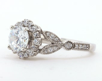 Engagement Ring Diamond Setting Moissanite Center Vintage Floral Style  With Matching Wedding Band