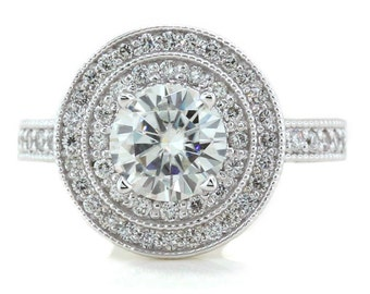 Double Halo Vintage Style Engagement Ring Diamond Setting Forever One Moissanite Center Kylie