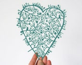 Romantic art, heart, papercut, proposal, anniversary gift, Christmas wife, paper cut, wedding gift, teal, UK - CraftyLou2