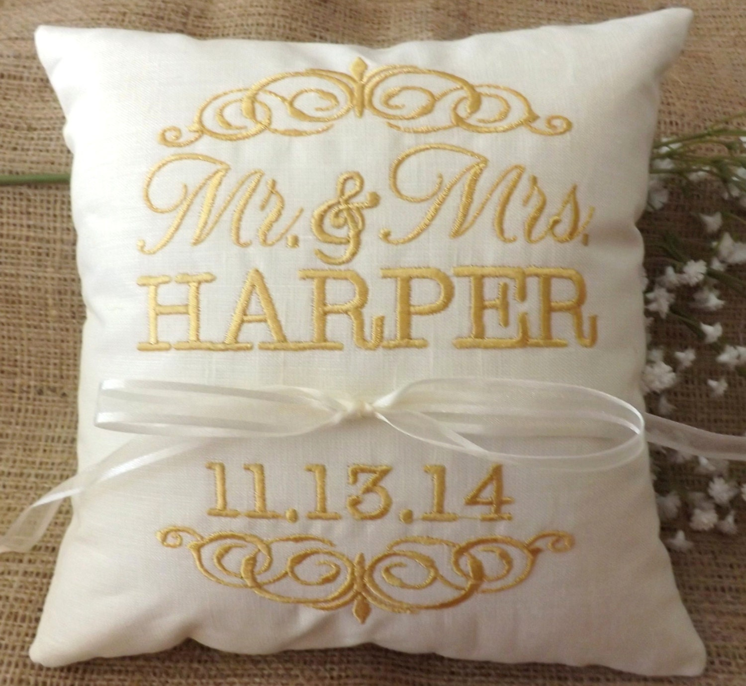 Ring Bearer Pillow, Mr & Mrs Ring Pillow, Wedding Pillow, Embroidery,