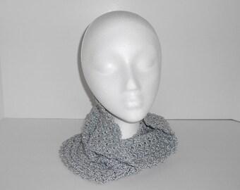 Hand Crocheted Grey Cowl