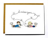 I miss you card - kids with tin cans, thinking of you card