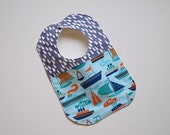 Designer Boy Baby to Toddler Bib - Nautical Sailboats & Buoys, Raindrops - One of a Kind - Ready to Ship