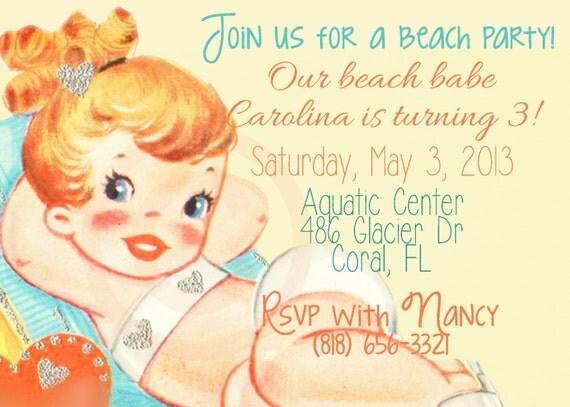 Vintage Beach Customizable Birthday Invitations, Customize, Girl Birthday Invitations, Swimming Birthday, Printable Invitations, Beach