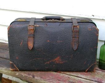 Vintage Suitcase Valise Shabby Split Cowhide Antique
