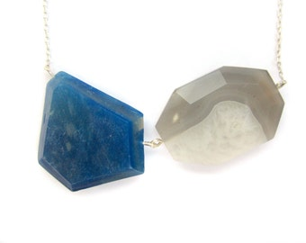Cobalt Blue Necklace, Geometric Blue Necklace, Grey Agate Necklace, Genuine Gemstone Necklace, Sterling Silver Necklace, Handmade Necklace