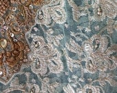 RESERVED FOR LINDA  Aqua, Gold, White Sequins Rhinestones Pearly Beads Sari long top for Fabric