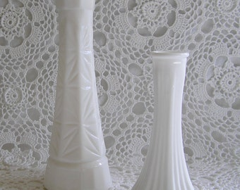 Pair of Milkglass Bud Vases, Shabby Chic Home Decor, Spring Floral Display