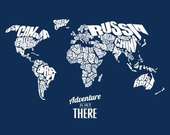 Adventure Is Out There - World Word Map - INSTANT DOWNLOAD - Navy, 8x10