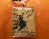 Witch pendant with distressed background, necklace, vintage, Halloween, black cord