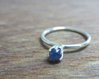 September Birthstone, Natural Sapphire Stacking Ring Sterling Silver, Birthstone Stacking Ring, Prong Setting, Size 2-15