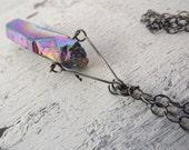 Rainbow titanium crystal necklace long necklace oxidized sterling necklace crystal necklace bohemian necklace tribal necklace unisex