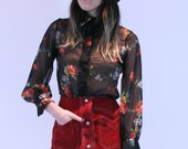 1970's Sheer Floral Button up Blouse