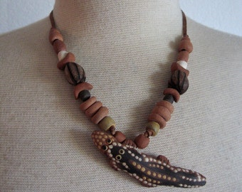 Vintage 70s Reptile Necklace with Clay Reptile and Large Pod Seeds on Leather Tie