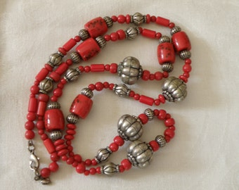 Vintage Red Coral and Silver Bead Necklace - 36 inch