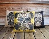 Set of 3 Sugar Skull Pillows, Throw Pillow, Halloween Decoration, Day of the Dead, Día de los Muertos,