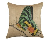 Burlap Butterfly Pillow Cover, Decorative Throw Pillow, Blue Butterfly Cushion, Jute, Spring, 16""