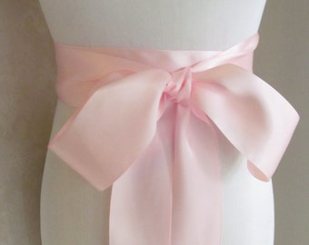 Light Pink Satin Ribbon Sash / Ribbon Sash / Satin Bridal Sash /  bridesmaid Sash /