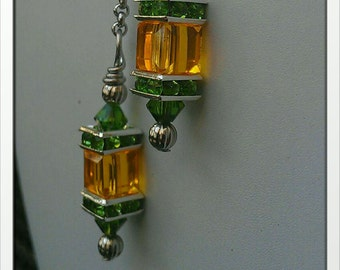 Inspired by Green Bay Packers  Swarovski Crystal Lantern Necklace