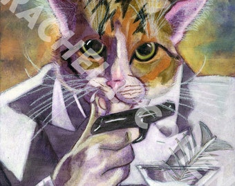 "Agent ""009"" James Bond Secret Agent Spy Cat Art Print of Original Illustration"
