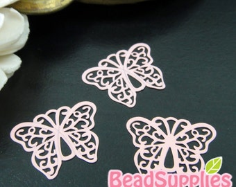 CH-ME-10136B- Color enameled,  Filigree butterfly computer-cut plate, dusty pink, 4 pcs