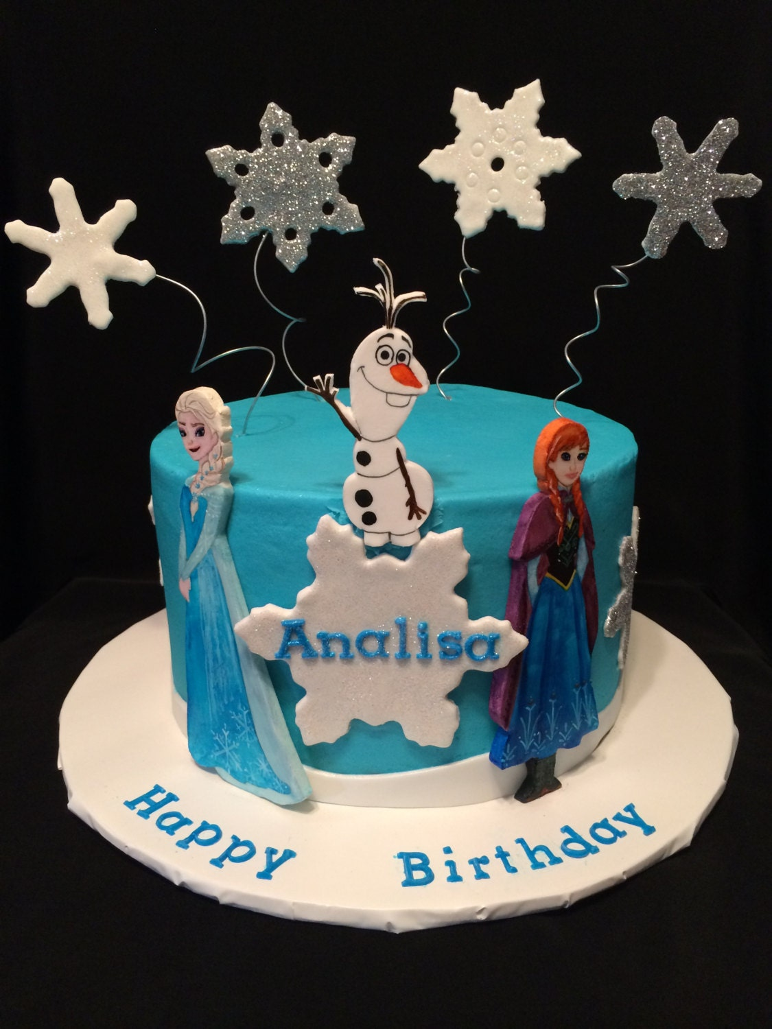 Etsy Frozen Cake Decorations : Elsa & Olaf Hand Painted Flat Fondant Cake Toppers For Luz