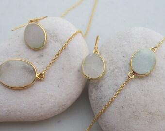 Bridal Jewelry Set- White Druzy Jewelry Set- Druzy Necklace Bracelet Earring- White Gemstone Jewelry Set- White Earring Bracelet Necklace