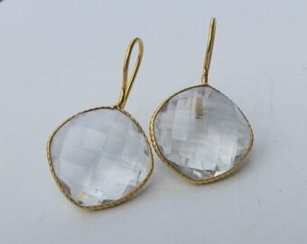 White Topaz Earrings- Clear Quartz Earrings- Stone Earrings- Gemstone Earrings- Gold Earrings- White Quartz Earring- Quartz Earring
