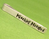 Harry Potter Inspired - Mischief Managed - A Hand Stamped Aluminum Tie Bar