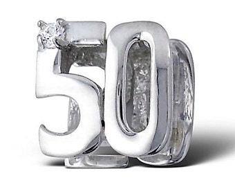 NUMBER 50 FIFTY 50th BIRTHDAY Charm Bead Charm Bead 925 Sterling Silver Fits  All European Charm Bracelets