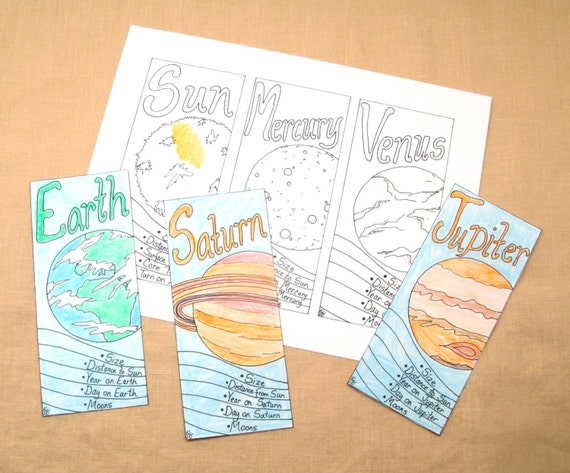 Items similar to Solar System Bookmarks, Space Coloring ...