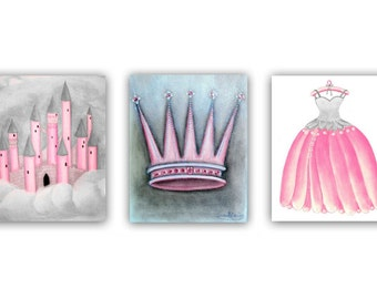 Princess Wall Art for Girls, Nursery prints, Baby Girl Nursery, Pink & Gray, Castle, Crown, Princess Nursery, Kids Decor, Kids Wall Art