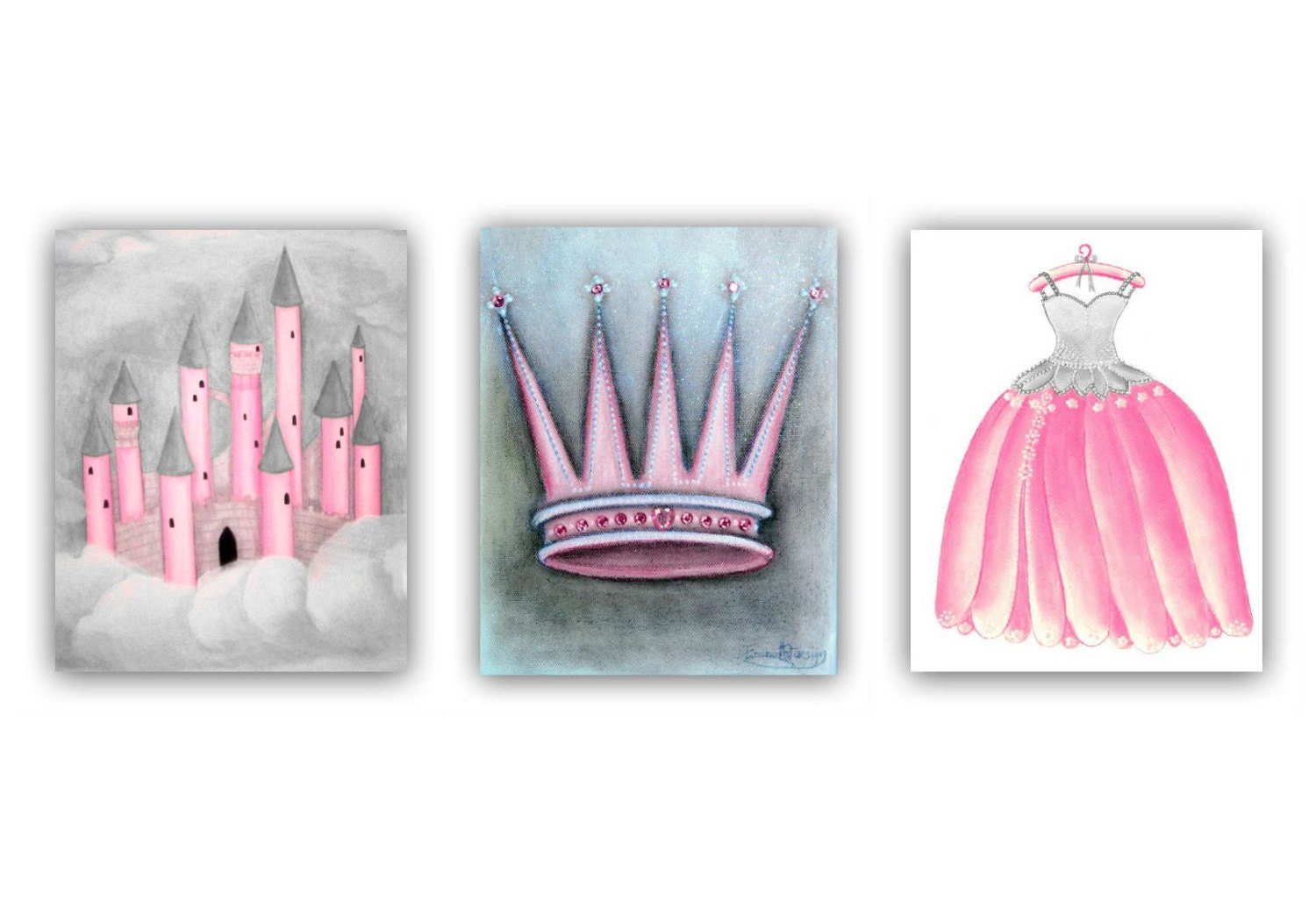 princess wall art for girls nursery prints baby by handpainting. Black Bedroom Furniture Sets. Home Design Ideas