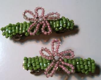 Handmade Beaded Daisy Snap Barrettes