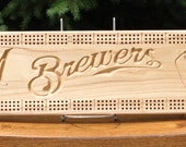 Milwaukee Brewers Cribbage Board Made From Black Ash